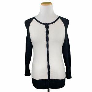 bebe Black & White Long Sleeve Down Knit Cardigan